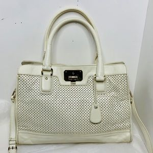 Cole Haan perforated leather deconstructed Satchel